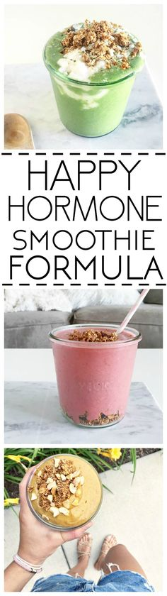 Happy Hormone Smoothie Formula + 4 recipes for each phase of your cycle. All vegan, gluten free, balanced, low sugar recipes to start the day off right and nutritionally support your hormones! Vegan Smoothies, Green Smoothie Recipes, Smoothie Drinks, Breakfast Smoothies, Breakfast Recipes, Low Sugar Recipes, No Sugar Foods, Detox Recipes, Vegan Recipes