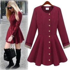 USD19.99Fashion O Neck Long Sleeve Single Breasted Wine Red Long Trench