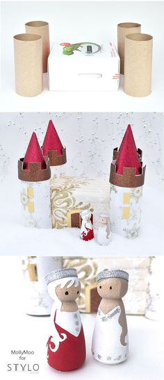 DIY WINTER PALACE & Peg Doll Princesses - cardboard box and toilet roll crafting - Link is broken, but the pic is pretty self explanatory. Toilet Roll Craft, Toilet Paper Roll Crafts, Paper Crafts, Diy Crafts, Wood Peg Dolls, Clothespin Dolls, Diy For Kids, Crafts For Kids, Carton Diy