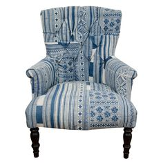 1stdibs.com | Indian Wood Blue & White Dhurrie Upholstered Arm Chair