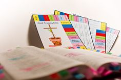 Child Training Bible Chart - color coded tabs indicate where to go for a scripture to correct behavior.