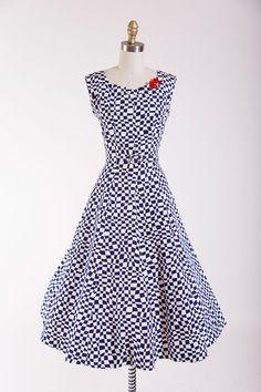 1950s Vintage Dress Unwavering Affection Navy by stutterinmama