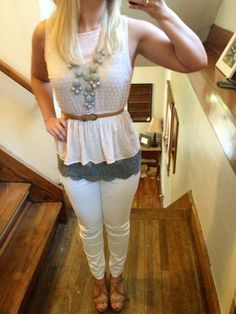 Francesca pink top . Express lace gray under . Target white curvy skinny jeans . & Amazon accessories