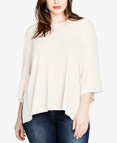 Rachel Roy Trendy Plus Size Draped Top, Created For Macy's In Blush Rachel Roy, Pullover, Trendy Plus Size, Casual Looks, Designer, Bell Sleeve Top, Nordstrom, Tunic Tops, Clothes For Women