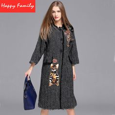 Women Coats Winter Autumn Fashion Runway 2017 Plus Size XXL Embroidered Cats Butterfly 3/4 Sleeve Loose Dark Grey Long Coat