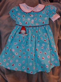 Aqua Pocket Penny Little Red Riding Hood Dress child by dragonbees, $35.00