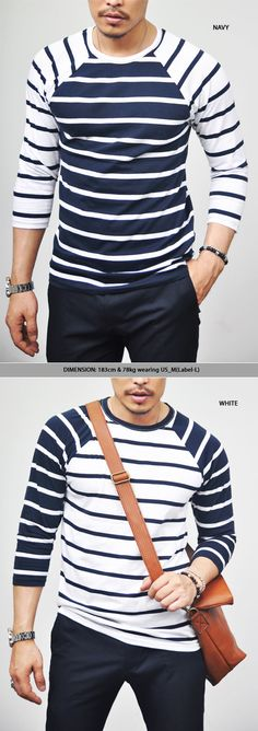 Tops :: Tees :: Cropped Contrast Raglan Stripe Tee-Tee 102 - Mens Fashion Clothing For An Attractive Guy Look