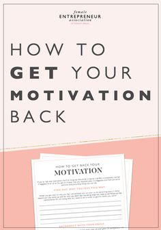 If you've lost your motivation, the first thing you should do is realize that this is completely normal! This is certainly something I've struggled with myself. Here are some positive and productive things you can do to get back t Female Entrepreneur Association, Business Entrepreneur, Business Tips, Work Motivation, Fitness Motivation, Finding Motivation, Goal Setting Worksheet, Job Interview Tips, Singing Tips