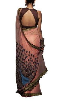 Pink Net Peacock Saree | Strandofsilk.com - Indian Designers