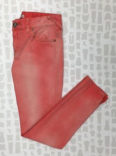 Free People 99 Cotton Faded Coral Cropped Skinny Jeans Size 27 | eBay
