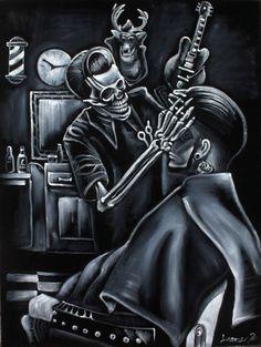 skeleton barber shop rock skull black velvet oil painting signed art, Day of the dead Barber Tattoo, Barber Logo, Lowrider Art, Barber Haircuts, Haircuts For Men, Barber Shop Pictures, Hair Salon Names, Barber Shop Decor, Faded Barber Shop