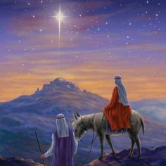 mary and joseph journey to bethlehem - (even though the star guided the three wise men and not Jesus and Mary ) Christmas Jesus, Christmas Scenes, Christmas Nativity, Christmas Pictures, Journey To Bethlehem, Arte Judaica, Holy Night, Christmas Paintings, Vintage Christmas Cards