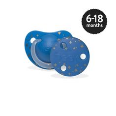 Boys 6-18 months Orthodontic Silicone Soother with Clip in Night Sky.  TIGGY fashion soothers offer a range of bespoke designs in different colours to suit every occasion. The anatomical teat promotes natural suckling whilst providing maximum comfort.