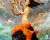 The Wrecker - mermaid and harp - Lisa Falzon lustre print