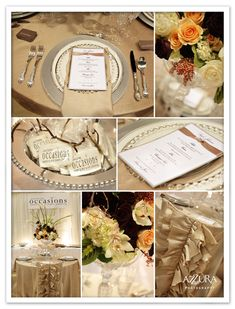 Love this wedding color palette, silver taupe gold cream