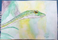 """Dessin Peinture aquarelle sur papier par G.Vanspey format A4 animal sauvage """"serpent"""" de la boutique vanspeygalleryart sur Etsy"""