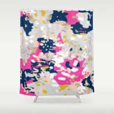 Michel - Abstract, girly, trendy art with pink, navy, blush, mustard for cell phones, dorm decor etc Shower Curtain