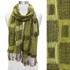 Scarf Patch Work Weave Shawl Wrap 2 Tone Green Block Scarves Long Fringe   http://stores.ebay.com/beachcats-bargains  beachcats bargains