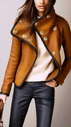 Burberry Fashionable Brown Leather Wrap Jacket with Cream Sweater and Gorgeous Trousers