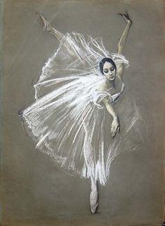 Valery Kosorukov  Natalia Bessmertnova as Giselle. Pastel on Paper(via Kosorukov Studios)