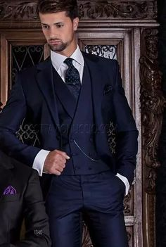 ONGala 1340 - 2 buttons blue formal suit with double-breasted vest all in wool