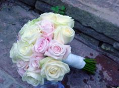 A compact domed bouquet of 'Vandela' and 'Sweet Avalanche' roses Wedding Gallery, Rose Wedding, Wedding Bouquets, Flower Arrangements, Bloom, Roses, Sweet, Floral, Pink