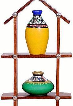 Terracotta pots on Hut shape wooden shelves