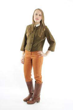 60s Pendleton Jacket Herringbone Wool Bolero by ScarletFury Available for purchase, $52, https://www.etsy.com/listing/218873475/60s-pendleton-jacket-herringbone-wool? Women's vintage fall winter work business fashion outfit