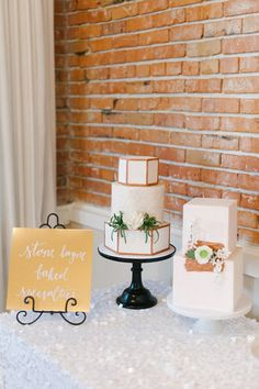 Urban Modern Chic at The Hollywood Schoolhouse during Weddings in Woodinville | Coordination: Simply by Tamara Nicole | Photos: Blue Rose Photography | Cakes: Stone Layne Baked Specialties #weddingsinwoodinville #modernwedding #weddingcake #winecountrywedding #geometriccakes