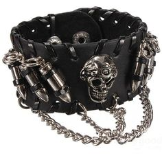 Gothic Skull Bullet Mens Black Leather Bracelet Wristband ($3) ❤ liked on Polyvore featuring men's fashion, men's jewelry, men's bracelets, mens watches jewelry, mens bracelets, mens leather bracelets and mens skull bracelets