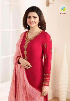 16e9be9c37 Vinay #Kaseesh Prachi Jannat Indian Georgette Salwar Kameez Suit 5554 #Red