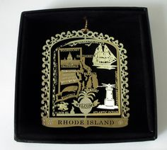 Rhode Island Brass Christmas Ornament Souvenir Gift.  A  vibrant memory of home, significant  and meaningful decor, think outside the box with dorm decorating. - your home state is probably high on that list.  All States Available