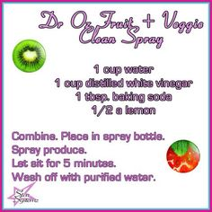 Homemade Spray to clean your fruits and veggies!  (Dr Oz)