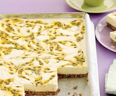 Coconut Passionfruit Slice {cheesecake} ~ no-bake cream cheese filling over shredded coconut & cookie crumb base Passionfruit Slice, Passionfruit Cheesecake, Passionfruit Recipes, Just Desserts, Delicious Desserts, Yummy Food, Coconut Recipes, Baking Recipes, Cheesecake Recipes
