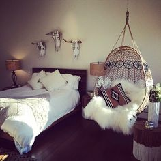 bohemian bedroom white, white bohemian bedroom, decorating bedroom, hanging chairs, dream bedrooms, bedroom boho, decorated cow skull in bedroom, bedroom chairs, dream rooms