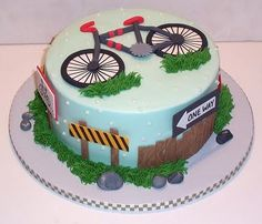 Bicycle Cake, love this! Bicycle Cake, Bike Cakes, Fondant Cakes, Cupcake Cakes, Cupcakes, Mountain Bike Cake, Mountain Biking, Dad Cake, Sport Cakes