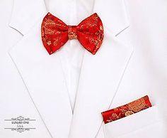 Doplnky - motýlik LUXURY RED + vreckovka - 5580881_