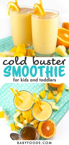 This Cold Buster Smoothie for Toddlers + Kids is loaded with vitamin C, natural electrolytes and probiotics that will boost the immune system, aid in digestion as well as provide extra hydration. Healthy Smoothies For Kids, Toddler Smoothies, Yummy Smoothies, Smoothie Recipes, Breakfast Smoothies, Heathy Breakfast, Making Smoothies, Kitchen Recipes, Baby Food Recipes