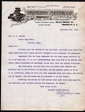 1914 Water Meter Manufacturers - Thomas Meter Co - Brooklyn NY - Letter Head