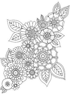 Folk Embroidery Patterns Giclee Print: Flower Cluster by Hello Angel : - Coloring Book Art, Adult Coloring Book Pages, Mandala Coloring Pages, Coloring Sheets, Paisley Coloring Pages, Sunflower Coloring Pages, Printable Flower Coloring Pages, Folk Embroidery, Embroidery Patterns