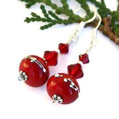 #Christmas #Red #Lampwork #Earrings with Siam #Swarovski Crystals #Handmade by @ShadowDogDesigns #ShadowDogDesigns #Jewelry on #ArtFire, $25.00 - SOLD