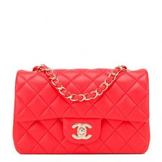 b835abac31df  Chanel Red Quilted Lambskin Rectangular Mini Classic Flap  Bag   Chanelhandbags Leather Shoulder Bag