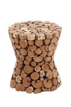 Brown Teak Wood Stool