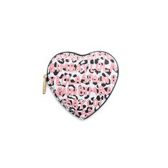 BIMBA Y LOLA heart coin purse with pink letters against a black background. From the Graffiti Collection, which combines animal prints with coloured letters. These letters have a spray-paint effect which imitates car painting techniques.  The BIMBA Y LOLA