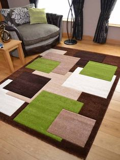New Thick Modern Carved Brown Green Square Floor Rugs Soft Pile Long Mats Runner Room Rugs, Rugs In Living Room, Area Rugs, Lime Green Rug, Cube Design, 3d Texture, Striped Rug, Carpet Design, Green And Brown