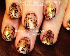 Sheer Black and Gold  Nail Art