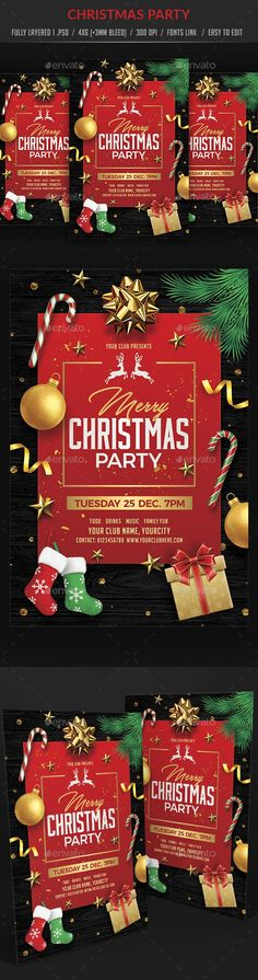 Buy Christmas Party by on GraphicRiver. Christmas Balls, Christmas Fun, Xmas, Christmas Ornaments, Christmas Flyer Template, Flyer Design Inspiration, Event Flyers, Christmas Cocktails, Party Flyer