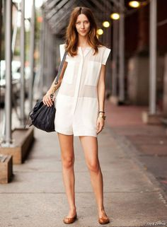Alana Zimmer in a cool white romper. #ssmag