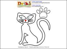 Patchwork moldes gatinha em patch aplique | Drika Artesanato - O seu Blog de Artesanato.