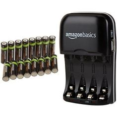 AmazonBasics AA Rechargeable Batteries (16-Pack) and Ni-MH AA & AAA Battery Charger With USB Port Set